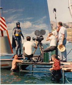 Filming the sea sequences for Batman (1966) on the old Fox ranch water-tank (apparently it was only 3 feet deep).
