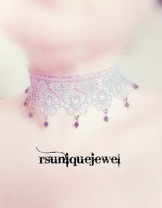 Purple Choker Burlesque Choker Royal Lace Choker by rsuniquejewel