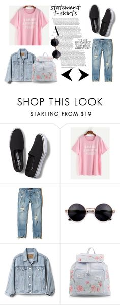 """Slogan T-Shirts"" by lululafitte on Polyvore featuring moda, Keds, Hollister Co., Gap y New Look"
