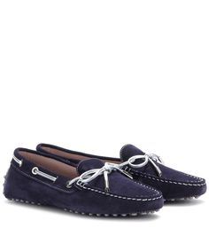 Tod's - Heaven New Lacetto suede loafers - Tod's navy blue loafers are given a tactile spin in soft suede. A timeless classic re-imagined, they're a pair-with-everything style. seen @ www.mytheresa.com