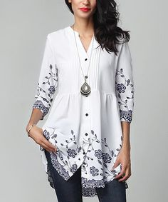 White Floral Chiffon Button-Down Pin Tuck Tunic