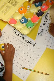 Ping pong balls with letters on them housed in egg cartons to spell words. kids try to spell as many words with the letters in the egg carton. each egg carton has different letters. Ocean Activities, Spelling Activities, Language Activities, Literacy Activities, Activities For Kids, Primary Classroom, Future Classroom, School Classroom, Classroom Ideas