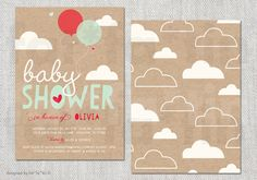 Balloon Baby Shower Invitation, Boy Girl Couples Shower Invite, Custom Colorful Party Invite Red Aqua Whimsical Cute Clouds Kraft Paper PDF by fatfatin on Etsy https://www.etsy.com/listing/187971259/balloon-baby-shower-invitation-boy-girl