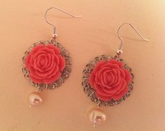 Pink Resin Flower Drop Earrings with Silver by ameliadoneup, $14.00