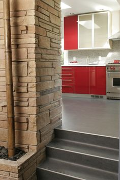 Raised red kitchen | Model Remodel, Seattle, WA