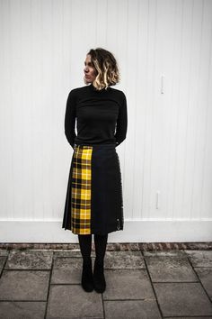 Le Kilt Mixed Tartan Kilt - Yellow/Navy/Black on Garmentory Tartan Skirt Outfit, Kilt Skirt, Skirt Outfits, Kilt Pattern, Le Kilt, Leather Buckle, Black Leather, Tartan Kilt, Scottish Kilts