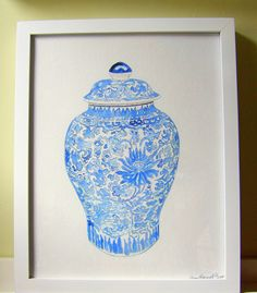To go with my real one! | Blue and white ginger jar print 11x14 | Etsy