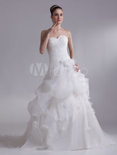 Ivory Sweetheart Neck Flower Organza Bride's Wedding Dress - Milanoo.com