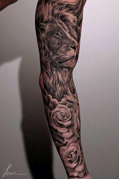 Amazing realistic lion &a flower black&grey sleeve tattoo