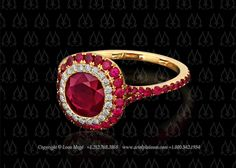 Halo ruby rings by Leon Mege