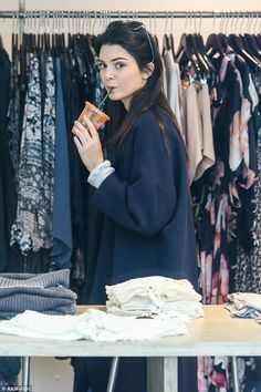 Kendall Jenner recharges with a healthy juice while shopping with Hailey Baldwin | Daily Mail Online