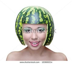 Funny woman with water-melon as helmet on head isolated