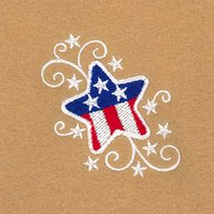 Star and Swirl Single - - Products Machine Embroidery Patterns, Applique Patterns, Applique Designs, Embroidery Applique, Applique Ideas, Flag Painting, Stone Painting, Rock Painting, Sunflower Template