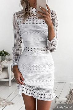 Vestido largo de encaje recortado Diseño largo vestido de encaje largo
