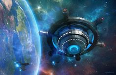 Space Station Orion 485 20$ for creating One Desktop Image #planet #art #space #starship #station