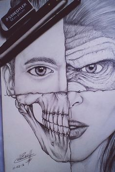 #Drawing #Skull #Human #Face #Men #Women #Monkey #Art #Brush #Pencil #Graphit