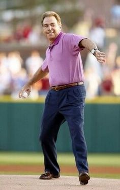 Coach Nick Saban throws out First Pitch Bama-AU Game . From Twitter  - Great form! ~ Check this out too ~ RollTideWarEagle.com sports stories that inform and entertain and Train Deck to learn the rules of the game you love. #Collegefootball Let us know what you think. #Alabama #RollTide #Saban