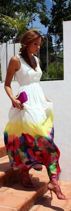 Water Color Floral White Maxi Dress