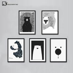 Cartoon Polar Bear Animal Nordic Art Canvas Poster Minimalist Print Black White Wall Picture Modern - ICON2 Luxury Designer Fixures #Cartoon #Polar #Bear #Animal #Nordic #Art #Canvas #Poster #Minimalist #Print #Black #White #Wall #Picture #Modern #