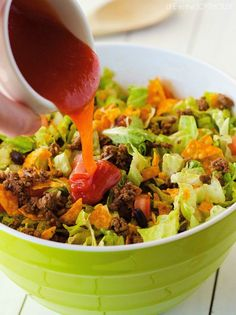 My family and I love this salad. It is packed with all kinds of deliciousness. Seasoned ground beef, black beans, cheese, lettuce and don't forget the Nacho cheese Doritos. 😀 They make the salad!    This Doritos Taco Salad comes together in just about 20 minutes tops! Salads like this are my go-to for easy... Read More »