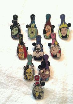 Disney Pin   Hidden Mickey Series  Villain Bowling Pin Set  ALL 10 Pins in set! YEA!