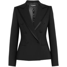 Dolce & Gabbana Satin-trimmed stretch wool and silk-blend blazer (£960) ❤ liked on Polyvore featuring outerwear, jackets, blazers, black, slim double breasted blazer, slim blazer, slim fit jackets, tailored blazer and double breasted jacket