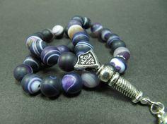Turkish Islamic 33 Prayer Beads, Tesbih, Matte Purple Agate Beads, Tasbih, Misbaha, Sufi, Worry Beads, Pocket Beads