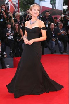 Venice Film Festival 2013 - Under The Skin premiere - September 3 2013  Scarlett Johansson wore an off-the-shoulder gown by Versace with Bulgari jewellery.