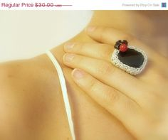 SALE 40% OFF Onyx Crochet Ring Black Handmade by JustColor on Etsy