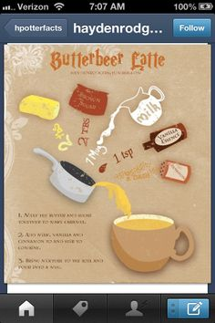 Butter beer recipe  OOOO THAT SOUNDS GOOD