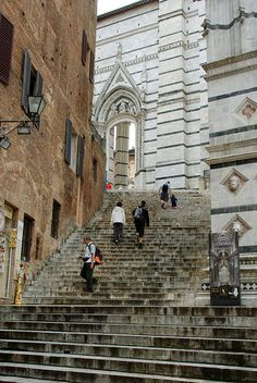 Siena, Italy-- walking down these stairs behind duomo to tie shop