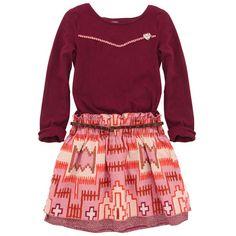 Scotch & Soda Burgundy jersey and printed percale dress Red - 43643 | Melijoe.com