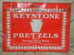 Vintage Metal Tin Sign KEYSTONE PRETZELS Rare Food Advertising Original Signs