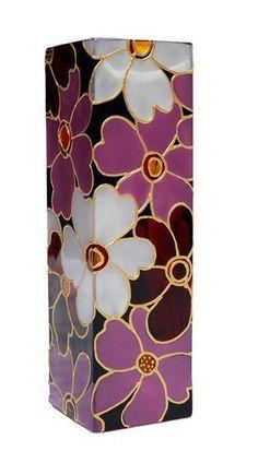 Hand Painted Vase glass vase floral botanical design flower pink purple white yellow art deco home decor Glass Bottle Crafts, Bottle Art, Vogel Illustration, Painted Glass Vases, Glass Painting Designs, Verre Design, Vase Crafts, Cement Crafts, Bottle Painting