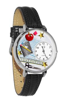 Whimsical Watches Designed Painted Teacher Black Skin Leather And Silvertone Watch