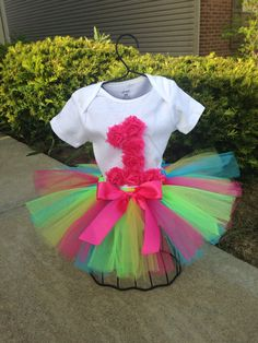 First Birthday Tutu Outfit, Pink, Green, Turquoise, Yellow, Rosette Birthday Outfit, Smash Cake Outift, 1st Birthday, 2nd Birthday