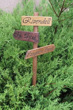 Lord of the Rings Garden Sign - Rivendell - The Shire - Mordor - LotR - The Hobbit - Fictional Places - Sign Post on Etsy, $45.00