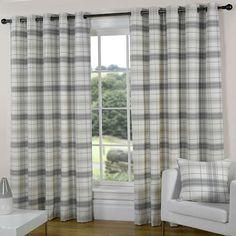 SILVER GREY SLATE PEWTER CREAM Check Tartan EYELET Ring Curtains 46 66 90 108 D