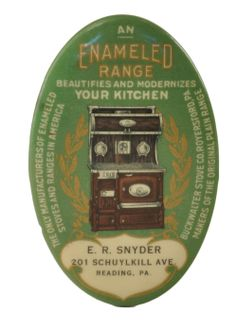 """Advertising pocket mirror for Enameled Ranges manufactured by Buckwalter Stove Co of Royersford, PA. Mirror advertising reads """"An Enameled Range Beautifies and Modernizes Your Kitchen. The Only Manufacturers of Enameled Stoves and Ranges In America. Makers of the Original Plain Range"""". This mirror is personalized for the dealer E.R. Snyder of 201 Schuylkill Ave Reading PA. Mirror shows beautifully detailed image of the enameled range with gold wreaths on a green background. Edge marked The…"""