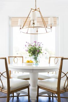 White Round Dining Table with Bamboo Dining Chairs, Transitional, Dining Room