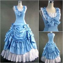 Blue Sleeveless Floor-length Ruffled Cotton Classic Lolita Dress Lolita Fashion Customize