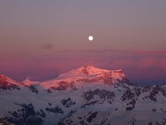 Moon setting over the Andes as seen from a Chilean Peak at sunrise  #landscape #moon #setting #andes #seen #chilean #peak #sunrise #photography