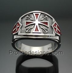 Knights Templar Masonic Men's ring - Cigar band style 028 in Sterling Silver #masonicring