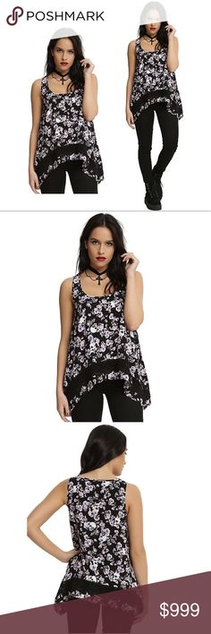 New~ Women's Floral Skull Tank Top Floral Skull Woven Sharkbite  Tank Top Blouse Tee  Condition: New Product Details:  We love how the details on this tank top make it perfect for summer!   Pink and purple floral print flowy black tank Skull Print Sharkbite hem Black crochet panel an inch from the hem to add contrast 100% rayon Wash cold gentle cycle; line dry Imported Tops Tank Tops