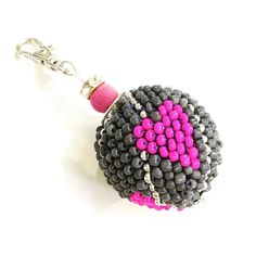 Grey and fusia pink keychain beaded ball shiny and hearts  #hearts #love #keychain #beaded #ball #round #sphere #crochet #etsy #zirconia #chunky #accessories #forsale #handmade #handcrafted #crafted #handmadelover #etsyshop #etsyseller
