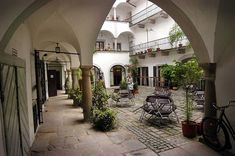Linz, Austria, Innenhof ~ typical lovely old interior courtyard Commercial Design, Commercial Interiors, Places Around The World, Around The Worlds, Heart Of Europe, Courtyard House, Hotels, Architecture Details, Austria
