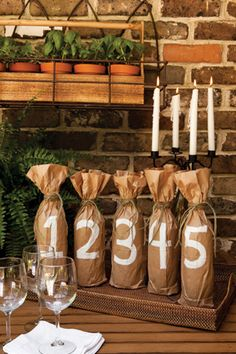 For an icebreaker, have each guest bring two bottles of wine to the party. Using a white paint pen, draw large numbers on the fronts of craft-paper bags, and then wrap one bottle from each guest in a bag. Let everyone taste and vote on their favorite. Whoever brings the preferred wine gets to take the second set home.