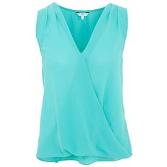 Jade Green Wrap Sleeveless Top ($8.55) ❤ liked on Polyvore featuring tops, tank tops, shirts, tanks, blouses, jade, sleeveless shirts, green shirt, sleeveless tank and green tank top