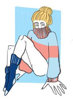 #illustration #pullover #girl #socks
