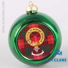 Crawford Clan Crest and Tartan Christmas Ornament. Free worldwide shipping available